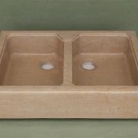 Lavello doppia fonte in marmo Thala
